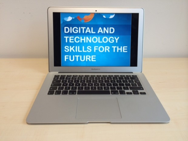 "An open laptop that reads ""Digital technology skills for the future"""