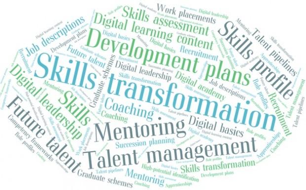 A word cloud with words: skills, transformation, mentoring, talent management, skills profile, digital leadership, jog descriptions, future talent.