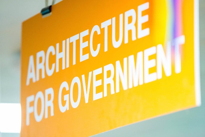 "An orange sign of ""Architecture for government"""