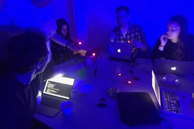 Participants code with micro:bit at the workshop