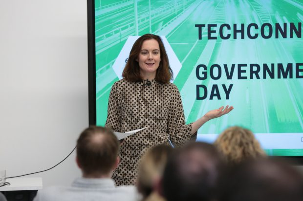 A Tech Connect participant pitching her group's idea at the Government Day