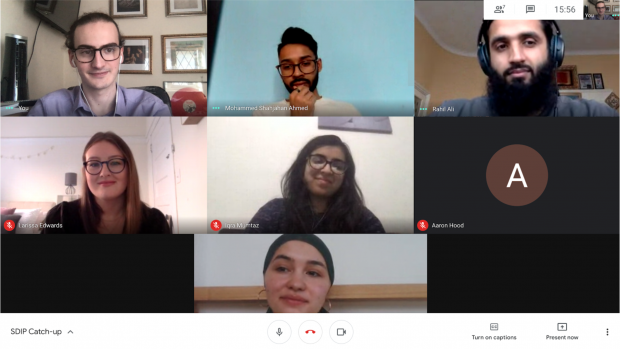 Some of the SDIP interns virtually meeting with Rahil Ali, Early Talent Manager at GDS