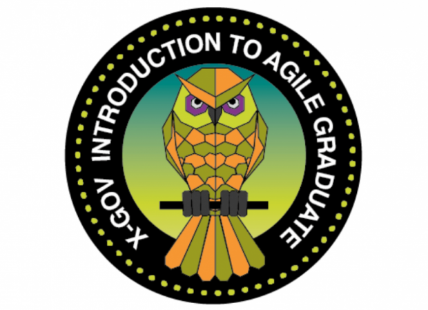 "Mission patch with an owl at the centre, and text around it reading ""X-Gov Introduction To Agile Graduate"""