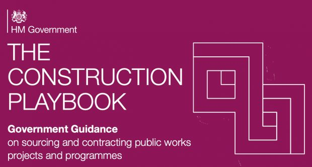 "Cover page of the Construction playbook, text reads "" Government guidance on sourcing and contracting public works projects and programmes"""