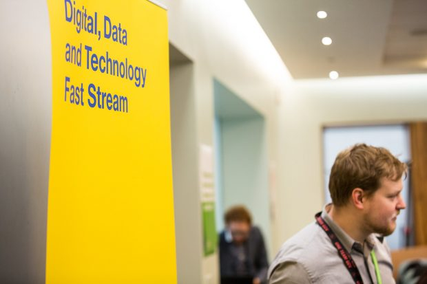 Image of sign that reads digital, data, and technology fast stream